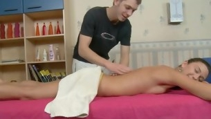Masseur is delighting darling with wild fucking after massage
