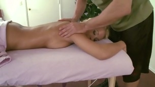 Giving hottie lusty massage makes stud's dong hard like hell