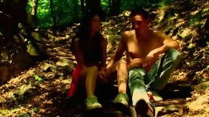 Forest becomes duo greater quantity location for sex with a nasty in power age teenager hottie