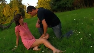 Slutty legal period teenager chick copulates essentially a fallen treen outdoors with partner