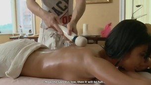 Hunk is delighting stripped beauty with fleshly oil massage